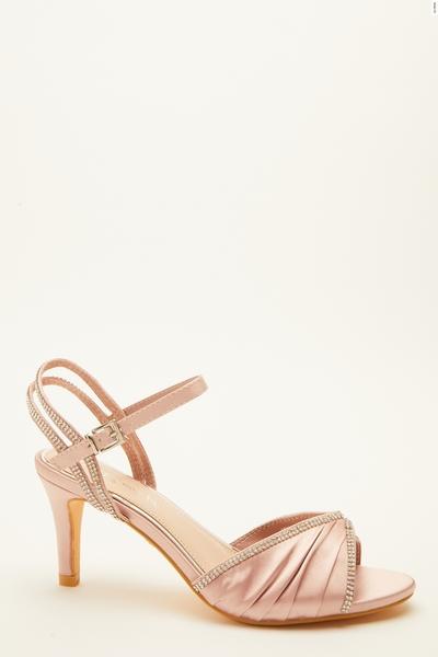 Wide Fit Pink Embellished Heeled Sandals